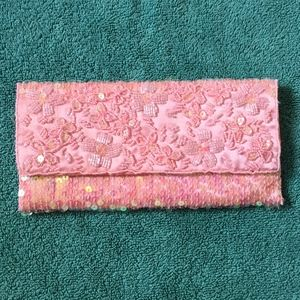 Pink Sequined Beaded Fabric Clutch